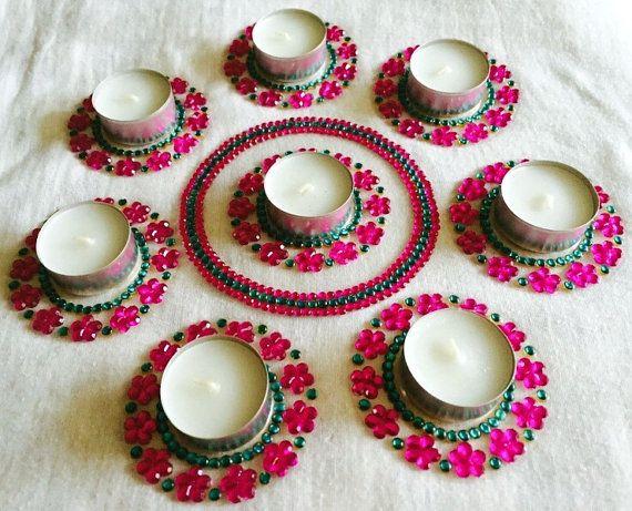 Diya with floral designs