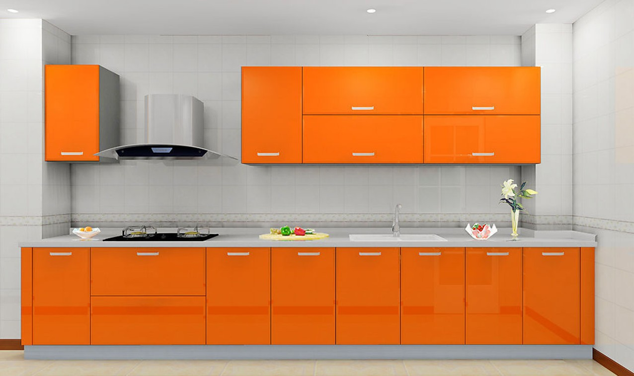 Amazing sunmica design that you will love home ladder - Cuisine orange ...